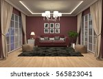 interior with sofa. 3d... | Shutterstock . vector #565823041