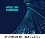 wavy linear monochrome... | Shutterstock .eps vector #565823719