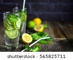 water detox with cucumber  lime ... | Shutterstock . vector #565825711