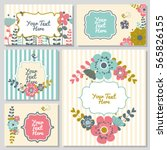 set of cute card with flowers.... | Shutterstock .eps vector #565826155