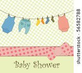 Stock vector baby shower or arrival card 56582788