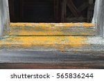 yellow lichen on old barn | Shutterstock . vector #565836244
