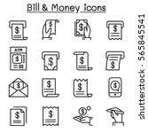 bill   money icon set in thin... | Shutterstock .eps vector #565845541