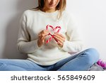 Young Woman Doing The Heart Of...