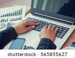 close up of woman hands using...   Shutterstock . vector #565855627