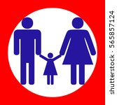 man  woman and kid sign. blue...