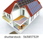 alternative heated house with... | Shutterstock . vector #565857529