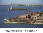 Aerial View Of Ellis Island...