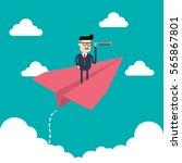 businessman looking through... | Shutterstock .eps vector #565867801