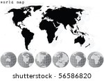 black world map and grey earth... | Shutterstock .eps vector #56586820