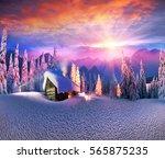 climbing to tourist wild alpine ... | Shutterstock . vector #565875235