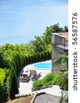 Holiday villa overlook Como lake, Italy - stock photo