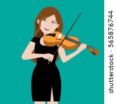 beauty girl playing violin... | Shutterstock .eps vector #565876744