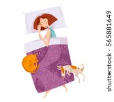 sleeping girl with a cat and a... | Shutterstock .eps vector #565881649