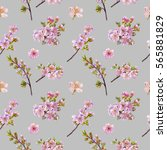watercolor hand painted flowers.... | Shutterstock . vector #565881829