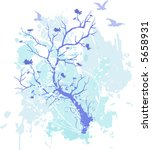 grunge style tree with blossoms ... | Shutterstock .eps vector #5658931