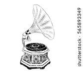 old gramophone black grunge
