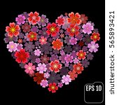 heart of flowers. sakura heart... | Shutterstock .eps vector #565893421