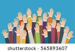 raised up hands. volunteering... | Shutterstock .eps vector #565893607