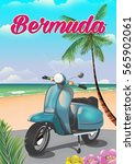 Bermuda Scooter Cartoon Beach...