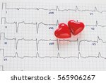 two red heart and ecg | Shutterstock . vector #565906267