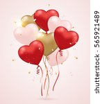 red  pink and golden heart... | Shutterstock .eps vector #565921489