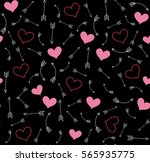 seamless pattern with hearts... | Shutterstock .eps vector #565935775