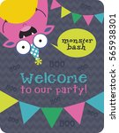 monster party card design.... | Shutterstock .eps vector #565938301