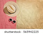 top view of sandy beach with... | Shutterstock . vector #565942225