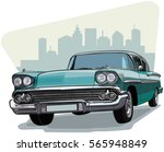 blue vintage car  front of the... | Shutterstock .eps vector #565948849