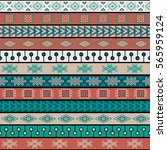 tribal multicolor knitted... | Shutterstock .eps vector #565959124