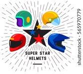 super moto sport star helmets....   Shutterstock .eps vector #565970779