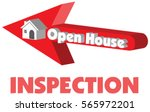 open house in red arrow... | Shutterstock .eps vector #565972201