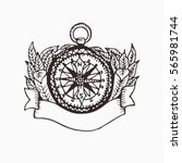 hand drawn compass illustration ... | Shutterstock .eps vector #565981744