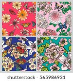 set seamless floral pattern... | Shutterstock .eps vector #565986931