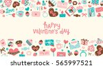 happy valentines day card with...   Shutterstock .eps vector #565997521