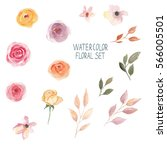 watercolor floral set | Shutterstock . vector #566005501