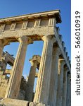 Small photo of Ruins of the The Temple of Aphaea in Aegina, Greece, late afternoon
