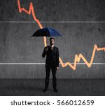 businessman with umbrella... | Shutterstock . vector #566012659