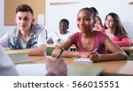 group of diligent  studying... | Shutterstock . vector #566015551
