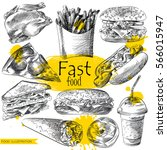 set of hand drawn fast food... | Shutterstock .eps vector #566015947