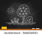drawing of spring landscape on... | Shutterstock .eps vector #566026051
