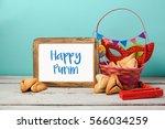 jewish holiday purim concept... | Shutterstock . vector #566034259