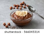 chocolate hazelnut chia pudding ... | Shutterstock . vector #566045314