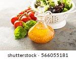 italian vinaigrette dressing in ... | Shutterstock . vector #566055181