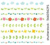 spring elements border set.   Shutterstock .eps vector #566056291
