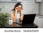 surprised girl with a laptop.... | Shutterstock . vector #566065009