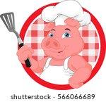 cute chef pig mascot cartoon | Shutterstock .eps vector #566066689