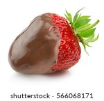 strawberry in chocolate... | Shutterstock . vector #566068171