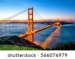 Stock photo golden gate bridge in san francisco california usa at sunrise 566076979